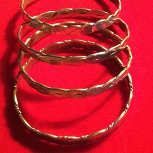 Four Sterling Silver Bangles